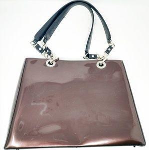 Beijo Womens Metallic Bronze Handbag Purse